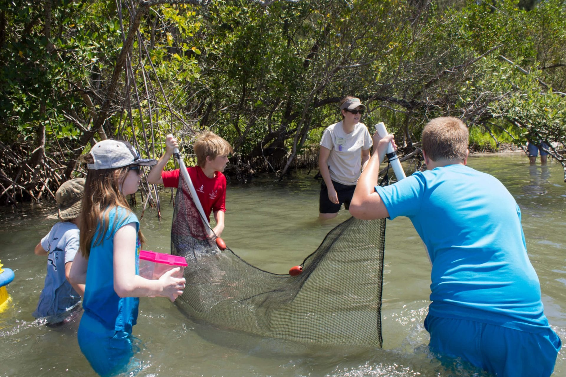 Students learning in lagoon