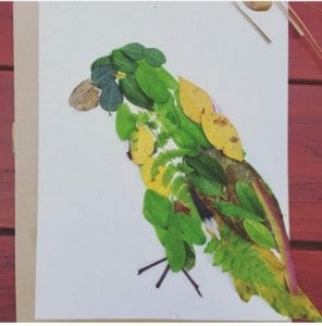 bird portrait made from leaves