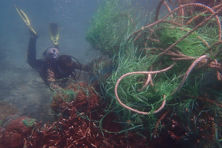 Diver removing FAD from reef