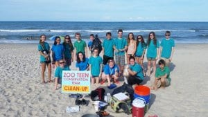 Group of Zoo Teens at a beach cleanup