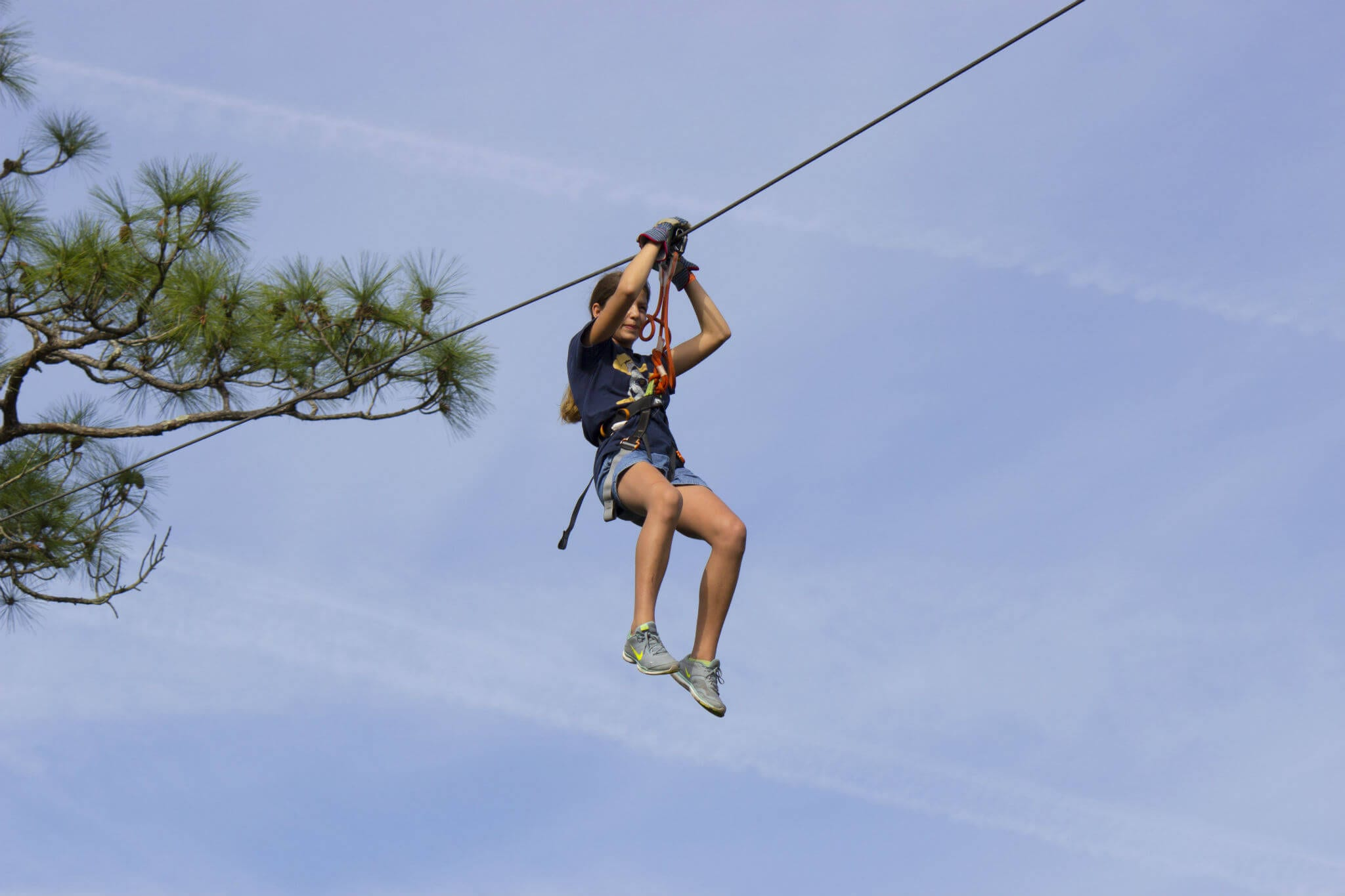 Ziplining during Extreme Nature Adventures camp