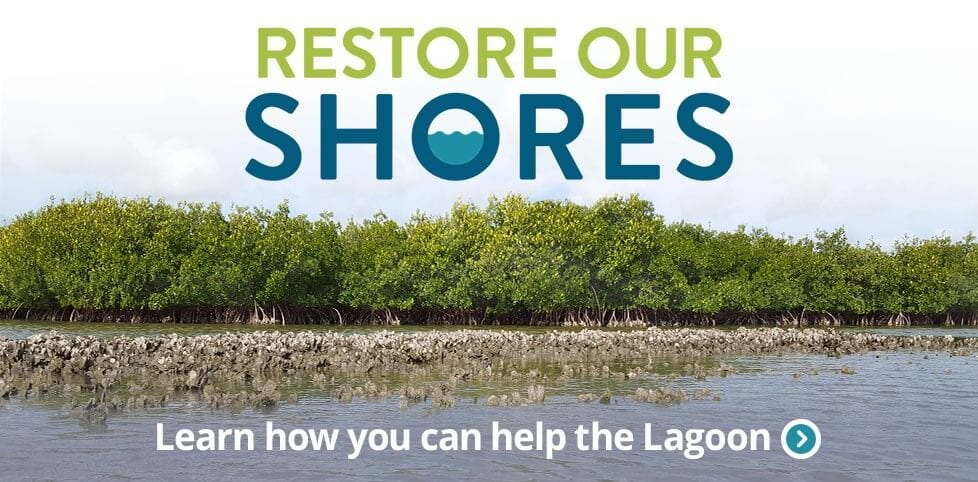 Restore Our Shores logo on the lagoon