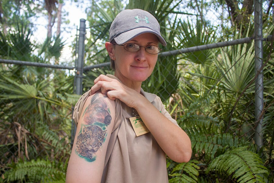 Zookeeper Em and animal tattoo