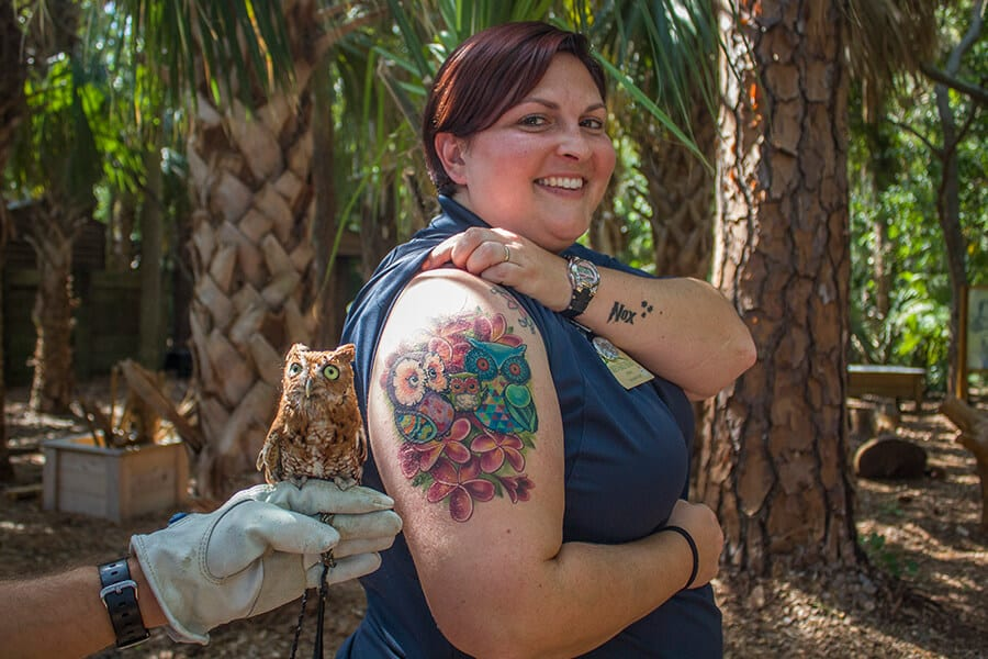 Zookeeper Jaime shows off an arm tattoo