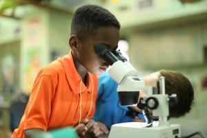 Boy using microscope during Nature's Laboratory camp