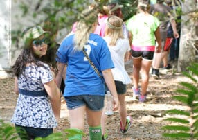Campers taking a hike