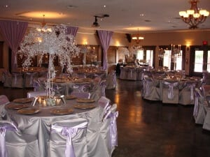 Lodge interior decorated in silver